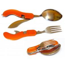 Набор туристический складной(ложка, вилка, нож, открывашка  4в1)