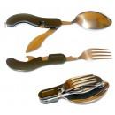 Набор туристический складной(ложка, вилка, нож, открывалка  4в1)