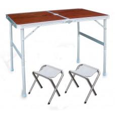 Стол раскладной кемпинговый + 2 стула 8811 Размер стола 60смх90см коричневый
